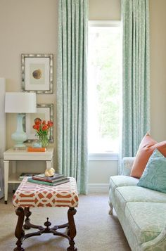 They're opposites on the color wheel, and paradoxically that means they go well together. If you can't abide the thought of a vibrant tangerine and cobalt room, go quieter. This serene living area is washed in pale turquoise and soft coral, diluted versions of orange and blue that make no less of an impact for their restraint.