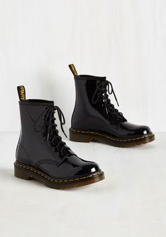 Tread Brightly Boot in Onyx. Step up your style with these bold black boots by Dr. #black #modcloth