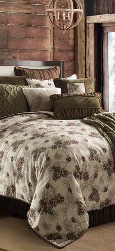 This gorgeous Forest Pine earthtone bedding collection has sumptuous shades of velvety greens and browns. The perfect finishing touch to rustic bedroom. Beige Bed Linen, Bed Linen Sets, Luxury Duvet Covers, Luxury Bedding Sets, Modern Bedding, Rustic Bedding Sets, Master Suite, Master Bedroom, Teen Bedroom