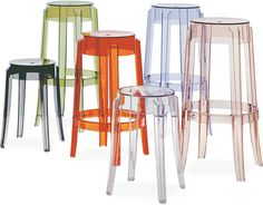 LOVE!!! these chairs. I want these in my new house! Charles Ghost Stool 2-pack by Philippe Starck for Kartell