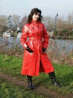 Lovely Lorraine in her shiny red mack Vinyl Raincoat, Raincoat Jacket, Plastic Raincoat, Imper Pvc, Rain Bonnet, Pvc Skirt, Rain Suit, Langer Mantel, Boots