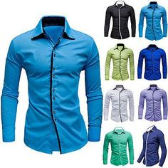 Men Boy Fashion casual shirt slim fit Blouse Long sleeve Fashion blouse 2017