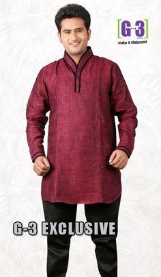 G3 Fashions Burgandy Linen Short Pathani Kurta  Product Code : G3-MSP1023 Price : INR RS 2154