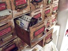 Old library card storage converted to store  craft items...such a great idea!!! Can't wait to do this