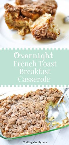 A warm sweet protein packed ready to bake in the morning Easy Quick Breakfast Overnight French toast Casserole is perfect when you're having family over for a long weekend. Warm and fluffy in the middle, crunchy & cinnamony with a touch of maple syrup on Breakfast Casserole French Toast, Breakfast Toast, Best Breakfast, Brunch Recipes, Breakfast Recipes, Breakfast Ideas, Easy Recipes, Overnight French Toast, Overnight Breakfast