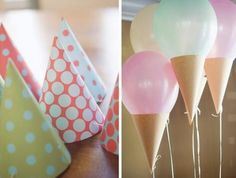 Ice cream cone balloon with a paper cone or party hat.