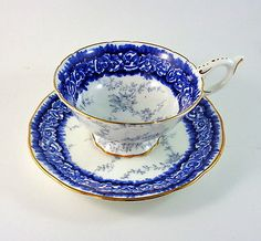 Cobalt Blue Border with Gray Design Coalport Tea Cup and Saucer Set