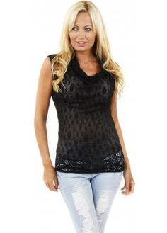 Black Cowl Neck Sheer Lace Fine Knit Sleeveless Top