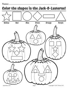 Pumpkin Kindergarten Shapes Coloring Page