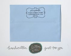 Elizabeth Handwritten Address Stamp your choice of by lettergirl