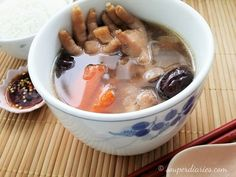 Tasty, nutritious and wholesome chicken feet soup recipe - an anti-aging soup containing collagen good for your skin and bones.