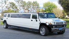 "Want to drive eco-friendly motorists crazy?!? Rent our monster white H2 Hummer #limo! Up to 20 passengers can party inside the cool black leather interior of this superstretch #limousine riding on 22"" chrome wheels. A private partition separates you from the driver so you can let loose with the 3,200 sound system; disco lights and floor; six TVs (two 17"" and four 7""); CD/DVD player; fireplace, iPod hookup."