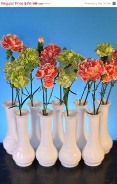 Wedding Bud Vases Vintage Milk Glass Lot by ClassicCabin
