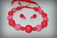Set – Red&White Polymer Clay Jewelry, Red And White, Handmade, Fimo, Jewels, Hand Made