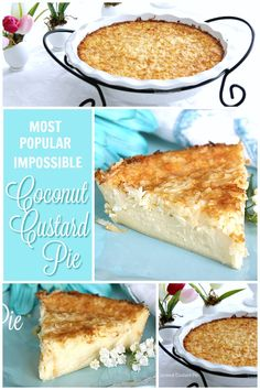 Super easy so delic Super easy so delicious and always a favorite. Creamy Impossible Coconut Custard pie creates its own crust and takes just a few minutes to prepare. Coconut Desserts, Coconut Recipes, Easy Desserts, Delicious Desserts, Vegan Desserts, Vegan Recipes, Bisquick Recipes, Baking Recipes, Pie Dessert