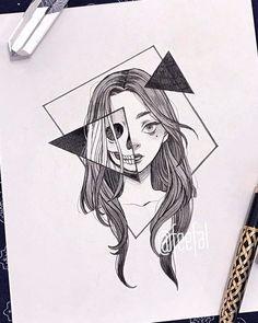 art sketchbook Ana Clara Viana (ana_claaraviana) I - Dark Art Drawings, Pencil Art Drawings, Art Drawings Sketches, Easy Drawings, Tattoo Drawings, Tattoo Sketches, Random Drawings, Tumblr Drawings, Detailed Drawings