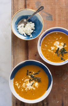 Roasted Tomato, Fennel, and Red Pepper Soup with Fried Sage and Feta.