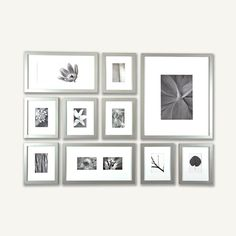 Design your Own Photo Wall in Minutes - Silver Frame Set with Hanging Template- 2 Moulding Other Colors Avail White Picture Frames, Picture Frame Sets, 10 Picture, Picture Groupings, Picture Arrangements, Photo Arrangement, White Frames, Black Picture, Photo Wall Hanging