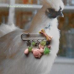 Broche épingle shabby - fantaisie pâques - lapin - oeuf - fleurs - perle - noeud - rose, verte, argentée