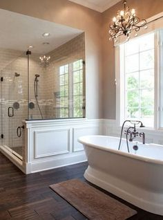 Bathroom Remodel Create a beautiful master bathroom with a Cast Iron Double-Ended Pedestal Tub. Create a beautiful master bathroom with a Cast Iron Double-Ended Pedestal Tub. Bad Inspiration, Bathroom Inspiration, Dream Bathrooms, Beautiful Bathrooms, Cottage Bathrooms, Master Bathroom Shower, Master Bathrooms, Cozy Bathroom, Bathroom Vanities