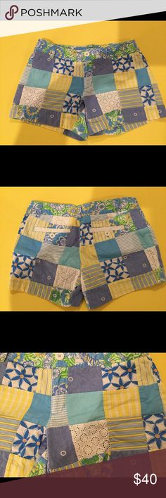 """Lilly Pulitzer patchwork Callahan shorts Sz 0 Cute pair of Lilly Pulitzer Callahan shorts in a size 0.  My daughter wore these when she was about a girls 14.  Good condition - worn a bunch so there is some wash wear/fading, but overall there is still lots of life left.  Please review all photos to get the best idea of co diction.  While listing, I did notice a tiny pull on one of the seersucker patches - see last photo.  Approx. measurements: waist 14"""" across, inseam 4"""" Lilly Pulitzer Shorts"""