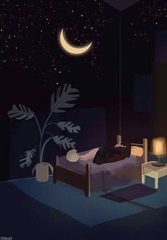 Find images and videos about art, illustration and arte on We Heart It - the app to get lost in what you love. Night Aesthetic, Aesthetic Art, Aesthetic Anime, Anime Scenery Wallpaper, Children's Book Illustration, Anime Art Girl, Cute Drawings, Cute Wallpapers, Cute Art
