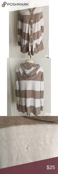 Free People Hooded Striped Cardigan beige and white striped cardigan! cozy and broken in, with signs of wear and a small hole in the back (as pictured) . perfect layered and great length to wear with leggings! Free People Sweaters Cardigans