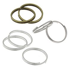 50 Spaltringe 12mm silber bronze Schlüsselringe Spiralringe Doppelring | Spaltringe | Biegeringe und Spaltringe | Bacabella Perlen und Schmuckzubehör