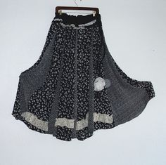 Romantic Bohemian Skirt / Gypsy Black and White Maxi by KheGreen, $55.00