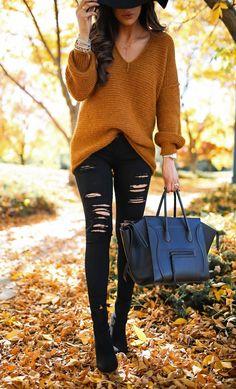 caramel sweater, black distressed skinny jeans, black booties