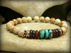 Turquoise Bracelet, Men's Bracelet, Beaded Bracelet, Mens Jewelry, Stretch…