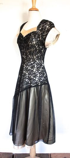 Vintage 1940s Dress // 30s 40s Black Lace and by TrueValueVintage
