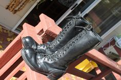 VINTAGE LINESMAN STEEL-TOE BLACK LEATHER WORK BOOTS SIZE 9.5 EE #LinesmanBoot #WorkSafety