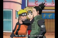 Naruto asking Shikamaru and Temari if they are on a date, mirroring the scene with Kakashi, Asuma, an Kurenai.
