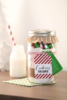Cookies for Santa in a Jar! Recipe + Free Printables featured on Pottery Barn Kids! http://www.thetomkatstudio.com/christmascookiesinajar/