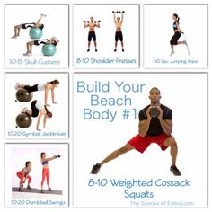 Workout Build Your Beach Body 1 Full Body Circuit, Toning Workouts, Outdoor Workouts, Summer Body, Workout Ideas, Kettlebell, Beachbody, Squats, Strength