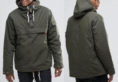 Men's Hooded Half Zip Drawstring Cangaroo Anorak Jacket       Текстильная мужская штормовка анорак с капюшоном, на молнии, подол на завязках, кенгуру.