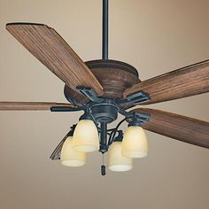 Casablanca 59119 Riello 60-inch Maiden Bronze Ceiling Fan with Walnut Blades and Clear Frosted Glass Light Casablanca Fan Company