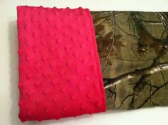 Realtree camo baby blanket hot pink minky back