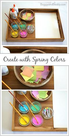 Spring Art Project for Kids: Invitation to Create with Spring Colors- Process art activity for toddlers, presc Activities For Kindergarten Children, Art Activities For Toddlers, Spring Activities, Preschool Art, In Kindergarten, Preschool Painting, Spring Art Projects, Toddler Art Projects, Spring Crafts For Kids