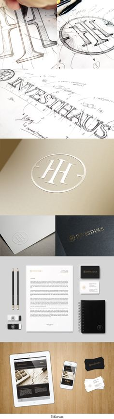 Investhaus Identity by IndustriaHED (via Creattica) | #stationary #corporate #design #corporatedesign #identity #branding #marketing < repinned by www.BlickeDeeler.de | Visit our website: www.blickedeeler.de/leistungen/corporate-design