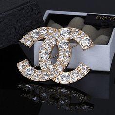Chanel Logo Diamond Filigree Brooch