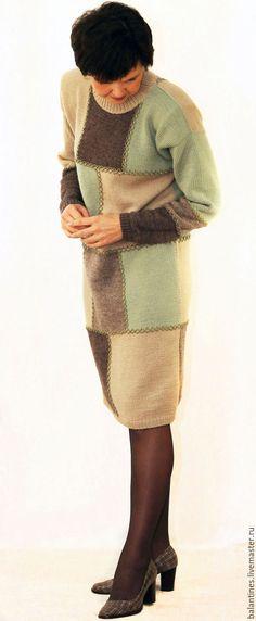 Купить Платье вязаное Пэчворк-2 Вязаное платье шерстяное Пэчворк - комбинированный, платье