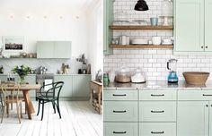 Светло-зеленые кухни