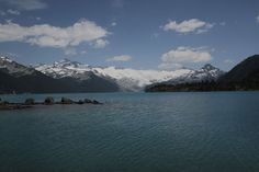 The view of Garibaldi Lake looking out over the turquoise water towards the glacier