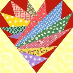 Feathers In My Heart Paper Pieced Block Pattern.