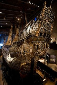 """Viking history preserved in Stockholm. The ships name is """"Vasa"""" A true engineering marvel. Vasa Ship, Bateau Pirate, Old Sailing Ships, Norse Vikings, Viking Art, Le Far West, Tall Ships, Oslo, Norway"""