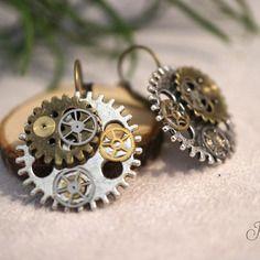 Boucles d'oreilles engrenages style steampunk