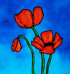 Bold Red Poppies - Colorful Flowers Art Painting by Sharon Cummings - Bold Red Poppies - Colorful Flowers Art Fine Art Prints and Posters for Sale