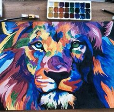 Blue and green eyed lion